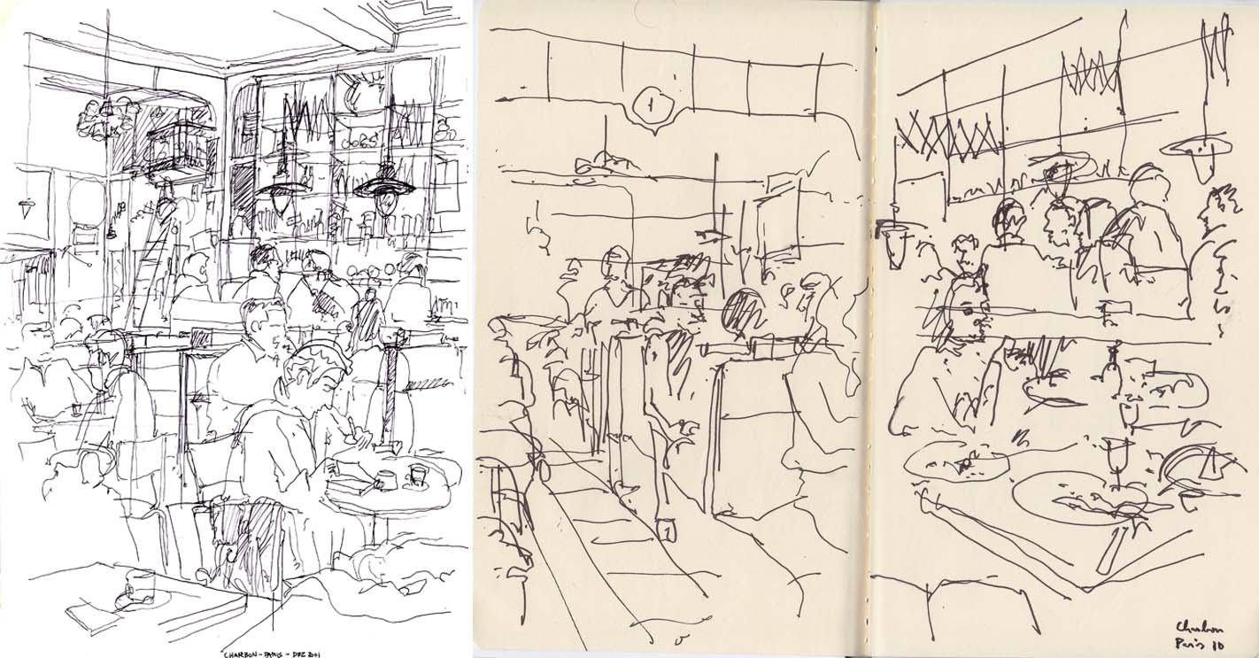 French Cafe Drawing Café Charbon / Paris // France