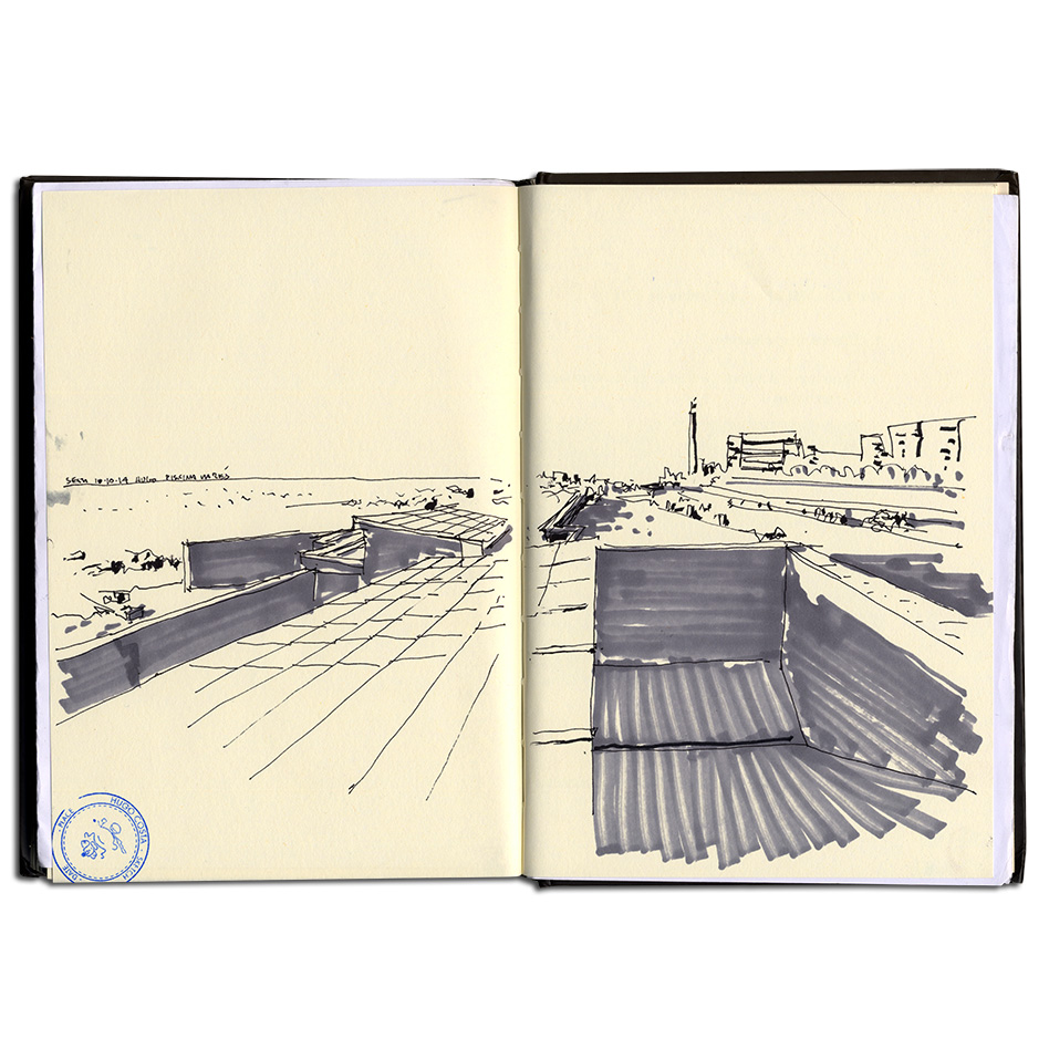 Lvaro siza a fresh drawing everyday for Swimming pool sketch
