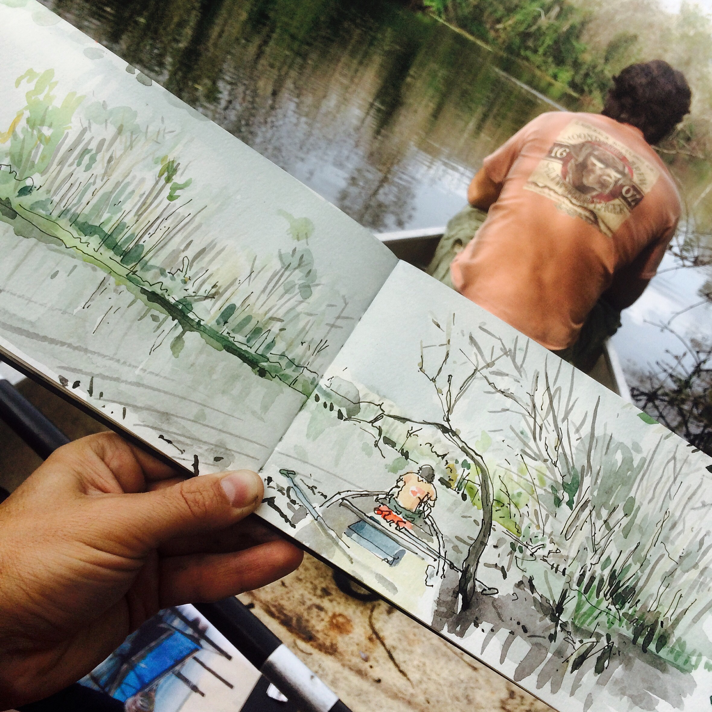 1425    sketching in the canoe    florida